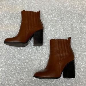 Call it spring Brown heeled booties